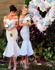 Короткие платья для подружки невестых русалок Сексуальные Плечи Аппликации Горничная честь платья для платьев коктейля выпускного вечера на заказ 2021