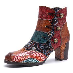 2019 Rass Ple Echtes Leder Stiefel Schuhe Frauen Retro Cowgirl Stiefeletten Westlichen Cowboy High Heel Booties Botas Muje