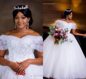 2020 Африканский бальное платье свадебное платье из бисера плеча Кристаллы Pearls Плюс Размер Саудовские Дубай Свадебные платья
