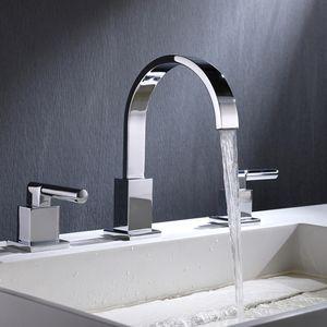 Cuarto de baño del lavabo del grifo agua del grifo doble en forma de L del mango de alta calidad anchas establece grifo grifo del fregadero