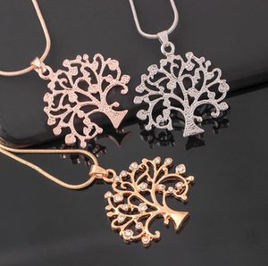 Europe and the United States new hot fashion diamond life tree necklace simple sweet clavicle chain