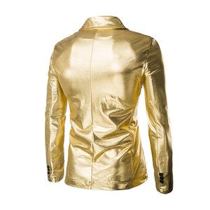 Brand Men Coated Gold Suit Set 2 pcs Jackets + Pants Men Blazers Sets Dress Blazer Set Wedding Party Show Shiny Clothes
