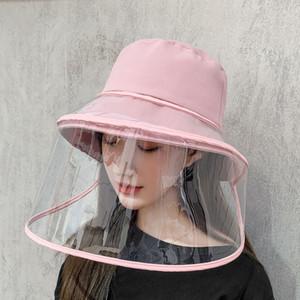 Masque facial de protection amovible de sécurité Visage Bouclier Anti-Cracher Splash Chapeau coupe-vent de sable Pare-brise anti-poussière chapeau de pêcheur DBC BH3563
