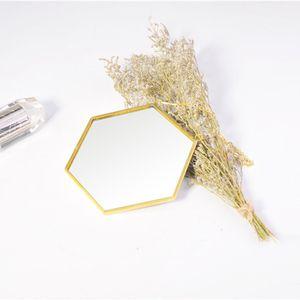 Nordic Creative Minimalist Geometric Makeup Mirror Gold Brass Hexagonal Bathroom Mirror Entrance Mirror
