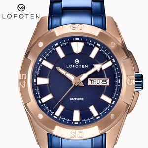 Mens de luxo de aço inoxidável ocysa rosa ouro f-6505 dia data data data à prova de água Mulheres japonês relógio relógios relógios relógios de pulso