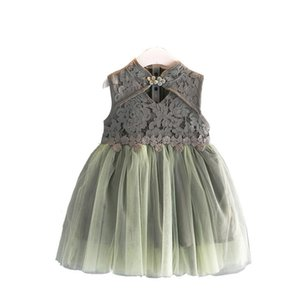 Girl Dress Lace Cheongsam Hollow Girl Dress Sleeveless Mesh Fairy Dresses Clothes for Baby Girls Children's Clothing Dress