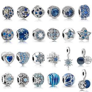 925 Plata Esterlina Azul CZ Charms Multi Style Heart Beads Snowflake Colgante Fit Pandora Original Charm Pulseras Joyería