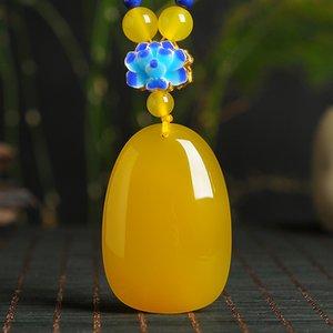 Genuine natural topaz egg face pendant original female jade Pee pendant with high-grade sweater chain bead necklace