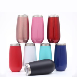 6oz Stemless Wine Champagne Glasses Stainless Steel Double Vacuum Egg Cups Cocktail Beer Tumblers Mini Mugs With Leakproof Lid 8 20 colors