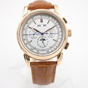 Süper komplikasyon kronometre 5270G Otomatik Erkek İzle Moon Phase Karmaşık Gümüş Perpetual Calendar Saatler Siyah Deri Dial