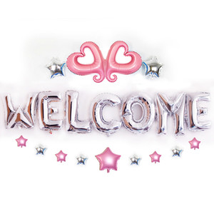 Pack of 20 Welcome Mylar Balloons Pack Love Heart Star Foil Balloon Set Party Decorations