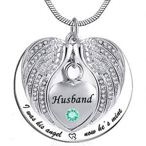 Angel Wing Memorial Keepsake Ashes Urna Colgante Collar de cristal de piedra de nacimiento, solía ser su ángulo, ahora es mío, para marido