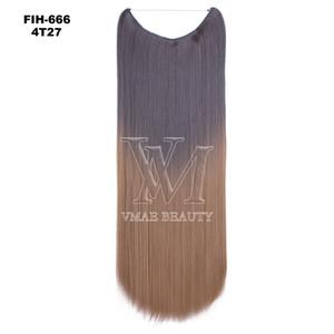 VMAE 24 pouces Ombre Color Silk Robinet de cheveux Synthétique Halo N ° 27 / # 613 Blonde Blonde Blonde Brown Rose Rouge Violet 100g