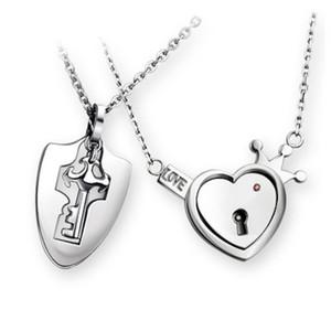 Collier de serrure à verrouillage pour amants en acier inoxydable Love Heart Lock Lock Charm Déclaration Colliers Couple Bijoux Bijoux Saint Valentin Cadeau