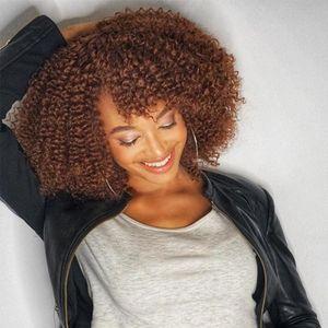 16inches Shop By olhar 180% Densidade Kinky Curly peruca dianteira do laço com a Bang Cor 4 Ombre Humana peruca de cabelo