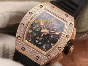 KV usine RM011 Mens Watch Tonneau Diamond Watch 18k or rose Montre de Luxe Suisse 7750 Chronographe Automatique Cadran Squelette Sapphire Crystal