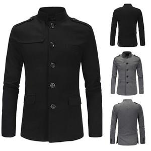 2019 nova marca casaco homens estilo britânico primavera e outono casaco de ervilha single-breasted Slim homens blusão windbreaker 2 cores