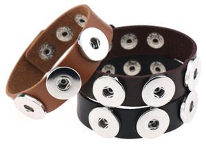 nueva Snap Button BraceletBangles 14 de color de alta calidad PU pulseras de cuero para las mujeres de 18 mm Snap Button joyería