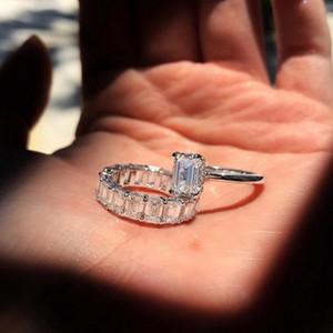 2 unids choucong marca nueva joyería 925 plata esterlina princesa corte blanco claro 5a cúbica circonia mujeres boda anillo nupcial