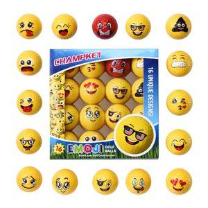Champkey Deluxe Emoji Golf Balls 16pcs / set بريميوم ثنائي الطبقات كرات الغولف الممارسة المهنية