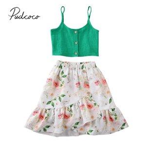 Pudcoco 2020 doces crianças Bebés Meninas Cortar Tops Strap Vest Boho florais saia do vestido Outfit Set 1-5Years