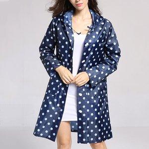 Women's Lightweight Raincoat Hooded Waterproof Outdoor Long Jacket Blue