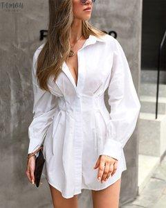 2020 High Street camisas das mulheres vestido longo luva Lantern V-Neck Vestido Mini Office Lady outono Definidos cintura vestido plissado