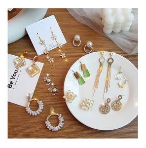 Women Fashion Charm Drop Earrings 925 Silver Pearl Rhinestone Diamonds Tassel Pendant Earrings Stud Long Dangle Earrings Jewelry Accessories
