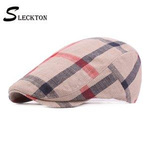 SLECKTON Cotton Flat Cap Newsboy Plaid Understand Beret Retro Sun Hat Travel Forward Women Winter Hatsby Baker Boy Unisex
