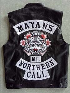 Mayalar MC Motosiklet Punk Lokomotif PU Deri Siyah yelek erkekler Moda Giyim Siyah Coat