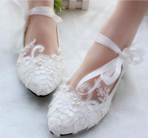 White Lace Femmes Flats ruban de mariée Chaussures à lacets Chaussures de mariage talon bas à la main Appliqued Perles Chic Performance pour femmes Flats AL2497
