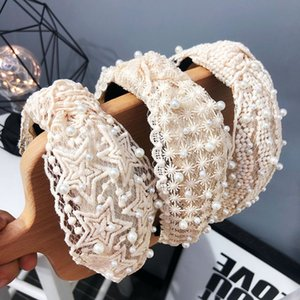 Fashion Party Women Hair Band INS Pearl Lace Girls Headband Night Club Party ladies Cross Hairband