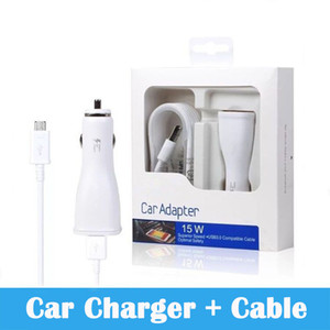 High Quality 15W 9V-1.67A Fast Car Charger adapter+Original 1.5m Micro USB Data Sync Cable for S6 s7 note 4 with package