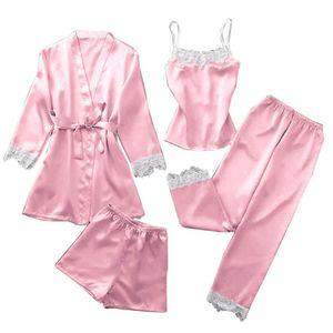 4Pcs Lady Home Wear Pajamas Strap Top Pants Suit Sleepwear Sets Woman Nightgown Sexy Kimono Sleep Robe Bath Gown Nightdress
