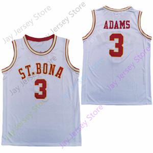2020 Nueva NCAA San Buenaventura Bona Bonnies jerseys 3 Jaylen Adams baloncesto de la universidad de New Negro Blanco Todo cosido