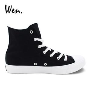Wen Men Kadınlar Günlük Ayakkabılar Siyah Beyaz Kanvas Ayakkabı Unisex Sneakers Yüksek Top Lace Up Ayakkabı Vulkanize Ayakkabı daire Büyük Boy 49
