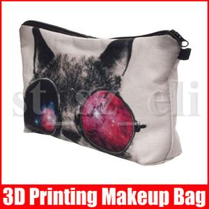 Солнцезащитные очки Cat 3D Printing Женщин Косметика Сумка Путешествие Кошелек Организатор Малет де Maquiagem макияж сумка