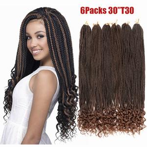 Trenzas de caja ondulada de cabello de ganchillo de 30 pulgadas Extremos sueltos Ombre Kanekalon Cabello sintético para trenzas 24 hebras Extensiones de cabello trenzado