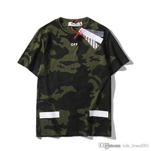 OFF European and American camouflage T-shirt sleeve men and women casual sports shorts five points OW beach pants couple models white 223