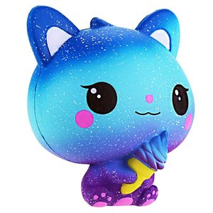 Jumbo Kawaii Ice Cream Cat Squishy PU Kitty Doll Simulated Animal Scent Slow Rising Soft Squeeze Toys Fun for Kid Xmas Gift