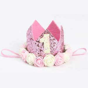 Numeral 1 2 3 Rose Crown Spangle Party Hat Children First Birthday Cap Headdress Headbands Baby Shower Party Decoration Supplies