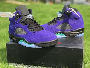 2020 Authentic 5 Alternate Grape Basketball Shoes Men Women Violet Purple Suede Grape Ice Black Clear New Emerald Sneakers With Original Box