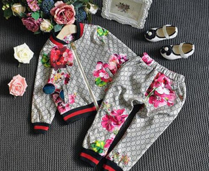 Baby Desiger Clothing Sets Luxury Spring Autumn Boy Girl Suit Flower Jacket + Trousers Kids Clothes Casual Baby Girl Boy Set Costume