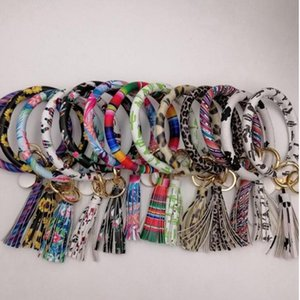 Bracelets Keychain Tassel PU Leather O Key Chain Ring Girls Wristlet Bracelet Leopard Sunflower Wristband Key Ring Party Favor Gifts C5961