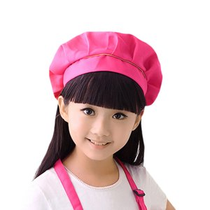 Girls Boys Painting Pleated Top Cooking Durable Bib Chef Hat Baking Home Party Kitchen Acessories DIY School Bar Pastry