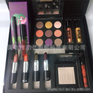 Maquiagem Halloween Set Marca Eyeshadow + Lip Gloss + Batom + Escova + Highlighter..BOO 10pcs Big Box Kit Cosmetic Suit Boa Qualidade