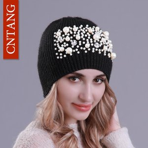 2018 Fashion Pearl Women Hats Autumn Winter Knitted Skullies Beanies Warm Wool Cap Ladies slouchy Hat High Quality