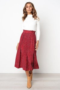 Printed Pocket Skirt Spring Summer Casual Fashion Pleated Skirt Fashion Famale Apparel Womens Polka Dot
