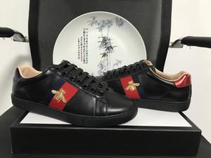 Designer Original ACE Abelha Preta Bordado Homens e Mulheres de Couro de Propósito Geral Listra Vermelha Verde Clássico Casal Lazer Sapatos