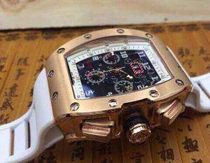 Mens automático relógio de pulso mecânico luxo rosa de ouro suíço RM011 Felipe Massa Flyback pulseira de borracha esqueleto relógios para homens